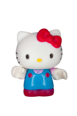 animal image: ADELAIDE, AUSTRALIA - September 14 2014:A studio shot of a Hello Kitty Mega Bloks Figurine from the animated series. Hello Kitty is an extremely popular worldwide character worth over $7 Billion a year.