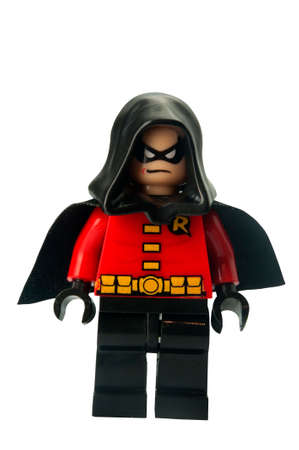batman: ADELAIDE, AUSTRALIA - February 25 2015:A studio shot of a Robin Lego Compatible minifigure from the Batman Theme. Lego is extremely popular worldwide with children and collectors.