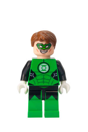 compatible: ADELAIDE, AUSTRALIA - February 25 2015:A studio shot of a Green Lantern Lego compatible minifigure from the DC Universe. Lego is extremely popular worldwide with children and collectors.