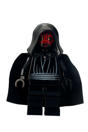 lego: ADELAIDE, AUSTRALIA - February 26 2015:A studio shot of a Darth Maul Lego minifigure from the Star Wars Theme. Lego is extremely popular worldwide with children and collectors.