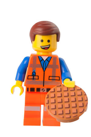 lego: ADELAIDE, AUSTRALIA - March 10 2015:A studio shot of a Emmet Lego minifigure from the Lego Movie. Lego is extremely popular worldwide with children and collectors. Editorial