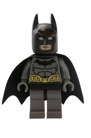 movie: ADELAIDE, AUSTRALIA - January 09 2015:A studio shot of a Batman Lego minifigure from the DC comics and movies. Lego is extremely popular worldwide with children and collectors.