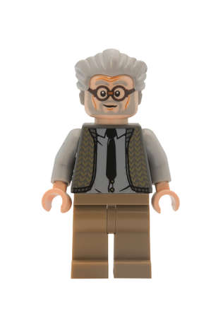 collectable: ADELAIDE, AUSTRALIA - January 09 2015:A studio shot of a Ernie Prang Lego minifigure from the Harry Potter Movie Series. Lego is extremely popular worldwide with children and collectors.
