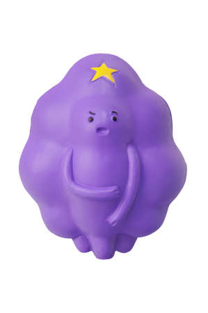 lumpy: ADELAIDE, AUSTRALIA - March 20 2015:A studio shot of a Lumpy Space Princess Figurine from the popular childrens cartoon series, Adventure Time.