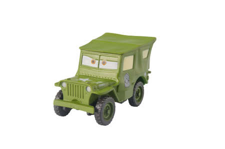 disney cartoon: ADELAIDE, AUSTRALIA - March 20 2015:A studio shot of a Sarge toy car from the Disney pixar movie Cars. Cars is an extremely popular animated movie with children worldwide.