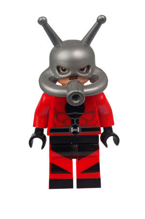 marvel: ADELAIDE, AUSTRALIA - March 27 2015:A studio shot of an Ant Man Custom Lego minifigure from the Marvel Comics. Lego is extremely popular worldwide with children and collectors.