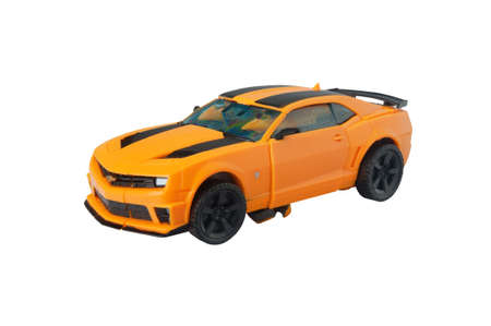 transforming: ADELAIDE, AUSTRALIA - March 27 2015:A studio shot of a Bumblebee action figure from The Transformers. Transformers is a worldwide popular animated and movie series worldwide.