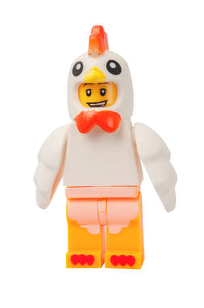 lego: ADELAIDE, AUSTRALIA - March 27 2015:A studio shot of a Chicken Suit Guy Lego minifigure. Lego is extremely popular worldwide with children and collectors. Editorial