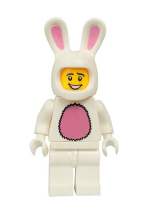 lego: ADELAIDE, AUSTRALIA - March 27 2015:A studio shot of a Bunny Suit Guy Lego minifigure. Lego is extremely popular worldwide with children and collectors.