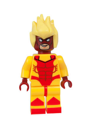 marvel: ADELAIDE, AUSTRALIA - March 27 2015:A studio shot of a Pyro Custom Lego minifigure from the Marvel Comics. Lego is extremely popular worldwide with children and collectors. Editorial