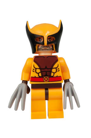 lego: ADELAIDE, AUSTRALIA - March 27 2015:A studio shot of a Wolverine Custom Lego minifigure from the Marvel Comics. Lego is extremely popular worldwide with children and collectors.