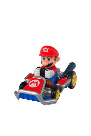 nintendo: ADELAIDE, AUSTRALIA - March 27 2015:A studio shot of a Mario Kart diecast vehicle  from the Video and Animated Nintendo Series. Mario Kart is an extremely popular videogame worldwide with children. Editorial