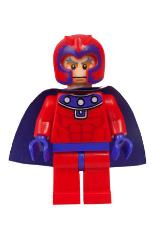 magneto: ADELAIDE, AUSTRALIA - March 27 2015:A studio shot of a Magento Custom Lego minifigure from the Marvel Comics. Lego is extremely popular worldwide with children and collectors.