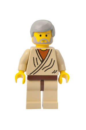 wan: ADELAIDE, AUSTRALIA - February 26 2015:A studio shot of an Obi Wan Kenobi  Lego minifigure from the Star Wars Theme. Lego is extremely popular worldwide with children and collectors. Editorial
