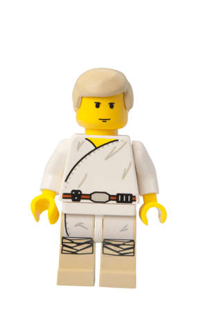 lego: ADELAIDE, AUSTRALIA - February 26 2015:A studio shot of a Luke Skywalker Lego minifigure from the Star Wars Theme. Lego is extremely popular worldwide with children and collectors.