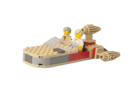 lego: ADELAIDE, AUSTRALIA - February 26 2015:A studio shot of a Landspeeder Lego model from the Star Wars Theme. Lego is extremely popular worldwide with children and collectors.