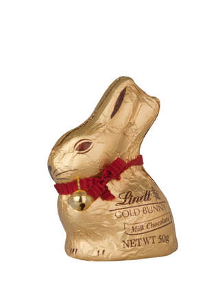lindt: ADELAIDE, AUSTRALIA - April 13 2015:A studio shot of a Lindt Chocolate Easter Rabbit. Lindt is a very popular international chocolate company, based in Switzerland it has stores throughout the world.