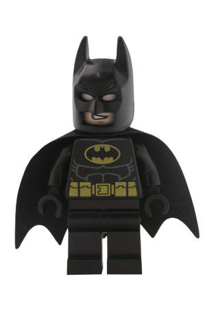 lego: ADELAIDE, AUSTRALIA - January 09 2015:A studio shot of a Batman Lego minifigure from the DC comics and movies. Lego is extremely popular worldwide with children and collectors.