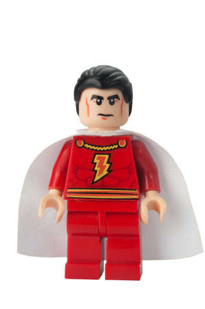 lego: ADELAIDE, AUSTRALIA - February 25 2015:A studio shot of a Captain Marvel custom Lego minifigure from the Marvel comics. Lego is extremely popular worldwide with children and collectors.
