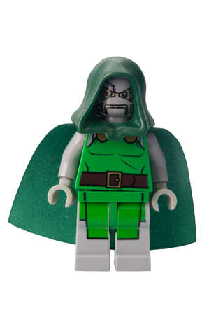 doom: ADELAIDE, AUSTRALIA - February 25 2015:A studio shot of a Doctor Doom custom Lego minifigure from the Marvel comics. Lego is extremely popular worldwide with children and collectors.