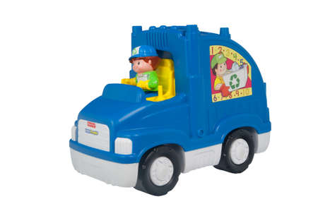 ADELAIDE, AUSTRALIA - April 08 2015:A studio shot of a Fisher Price Recycling Truck Toy. Fisher Price distributes popular educational and developmental toys throughout the world. Editorial