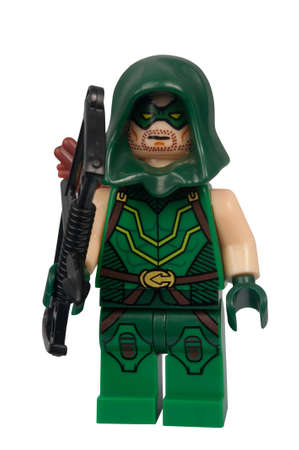 green arrow: ADELAIDE, AUSTRALIA - March 27 2015:A studio shot of a Green Arrow Custom Lego minifigure from the DC Comics Universe. Lego is extremely popular worldwide with children and collectors.