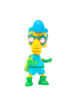 fallout: Adelaide, Australia - May 22, 2015: A studio shot of a Fallout Boy Figurine from the animated series The Simpsons, isolated on a white background. The Simpsons is the longest running animated series in television history and is very popular worldwide, wit