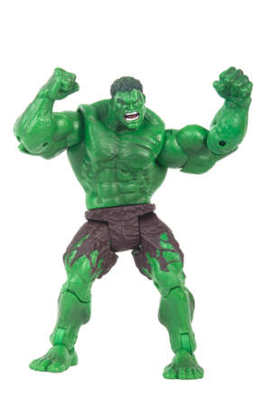 marvel: ADELAIDE, AUSTRALIA - June 08 2015 : A studio shot of a Hulk action figure on a white background. Marvel toys are highly sought after collectables.