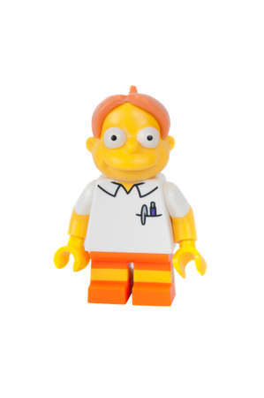 Adelaide, Australia - June 19 2015: An isolated image of a Martin Prince Series 2 Lego Minifigure. The Simpsons is the longest running animated TV series of all time. Items from the Simpson and Lego are highly sought after collectables.
