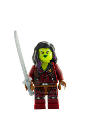 guardians: ADELAIDE, AUSTRALIA - December 11 2014:A studio shot of a Gamora Lego minifigure from the Guardians of the Galaxy. Lego is extremely popular worldwide with children and collectors.