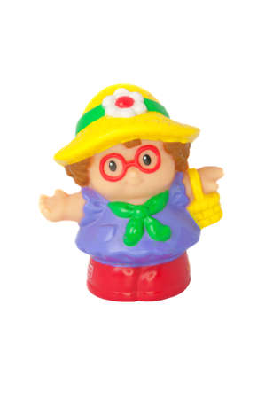 Adelaide, Australia - August 11 2014: A studio shot of a Fisher Price Little People Shopping Lady. A popular developmental toy for young children.