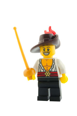 swashbuckler: ADELAIDE, AUSTRALIA - December 11, 2014: A studio shot of a Swashbuckler Lego Minifigure from series 12. Lego is very popular with children and collectors worldwide.
