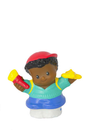Adelaide, Australia - August 11 2014: A studio shot of a Fisher Price Little People School Boy. A popular developmental toy for young children. Editorial