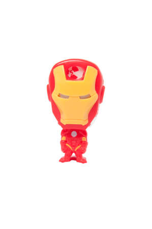 kinder: Adelaide, Australia - May 22, 2015: A studio shot of a Iron Man Kinder Surprise Toy on a white background. Kinder Surprise eggs are a popular treat for children and the toys contained inside are highly sought after collectables.