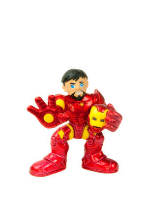 marvel: Adelaide, Australia - May 04, 2015: A studio shot of a Tony Stark, Iron Man action figure from Marvel Comics. Marvel comics and movies are very popular and merchandise are highly sought after collectables. Editorial