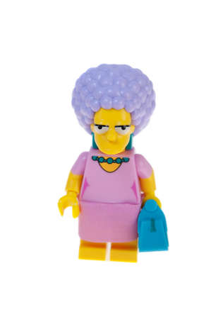 simpson: Adelaide, Australia - June 28, 2015: An isolated image of a Patty Bouvier Series 2 Lego Minifigure. The Simpsons is the longest running animated TV series of all time. Items from the Simpson and Lego are highly sought after collectables.
