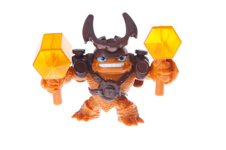 wallop: Adelaide, Australia - June 29, 2015: A studio shot of a Wallop figurine from the Skylanders Trap Team Videogame, issued by McDonalds with Happy Meals. Extremely popular game series worldwide with children.