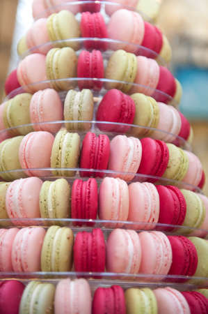 public market: A selection of Macaroons stacked at a stall at a public market