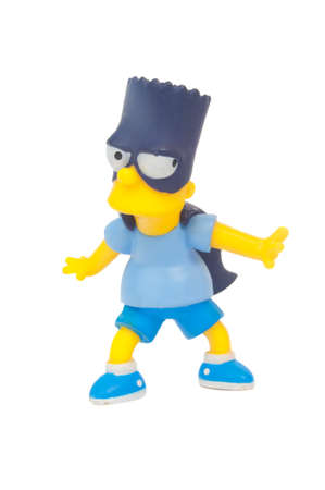 simpson: Adelaide, Australia - May 01, 2015: An isolated image of a Bartman figurine. The Simpsons is the longest running animated TV series of all time. Items from the Simpson are highly sought after collectables. Editorial