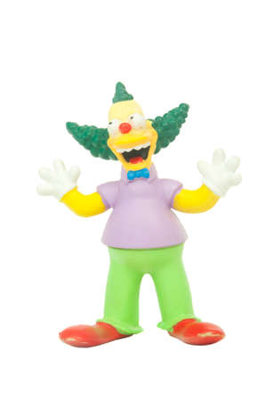 collectable: Adelaide, Australia - May 01, 2015: An isolated image of a Krusty the Clown figurine. The Simpsons is the longest running animated TV series of all time. Items from the Simpson are highly sought after collectables.