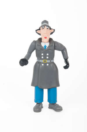 syndicated: Adelaide, Australia - June 8, 2015: A photo of an Inspector Gadget Figruine, isolated on a white background. Inspector Gadget is an animated television series based on the adventures of a clumsy cyborg policeman. The series was syndicated around the world Editorial