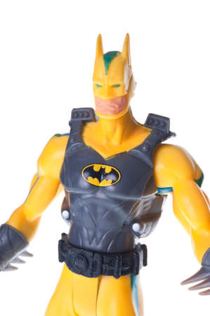 batman: Adelaide, Australia - June 29, 2015: An isolated image of a Dark Knight or Batman Action Figure. Batman is one of DC Comics most popular superheros, spawning many movies, TV series and collectables.