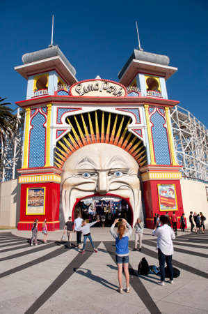 st kilda: Melbourne, Australia - August 30, 2015:The entrance to the Luna Park Amusement centre in St Kilda, Melbourne.  A popular attraction for locals and tourists has been operating in this location since 1912.