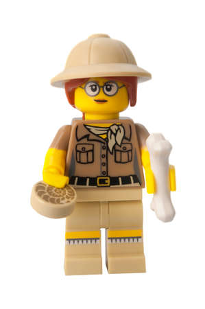 paleontologist: ADELAIDE, AUSTRALIA - March 20 2015:A studio shot of a Paleontologist Lego minifigure from Minifigure Series 13. Lego is extremely popular worldwide with children and collectors.