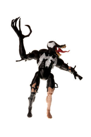 spiderman: Adelaide, Australia - July 03, 2015: A studio photograph of a venom action figure from the Spiderman universe. Merchandise from Marvel comics and movies are highly sought after collectables.