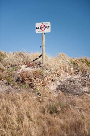keep out: A keep out sign on a revegatation area on a beach dune