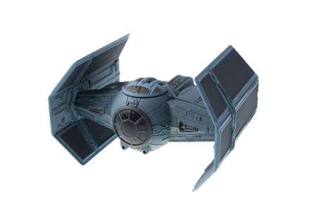 juguetes: Adelaide, Australia - 09 de julio, 2015: Un estudio tir� de un modelo de fundici�n a presi�n de la de Darth Vader TIE Avanzado x1 caza estelar de la pel�cula Star Wars. Merhcandise del universo de Star Wars son muy codiciados coleccionables.