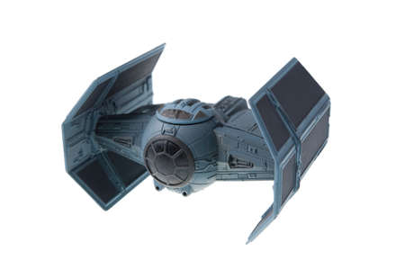 adelaide: Adelaide, Australia - July 09, 2015: A studio shot of a diecast model of Darth Vaders TIE Advanced x1 starfighter from the Star Wars Movie. Merhcandise from the Star Wars universe are highly sought after collectables.