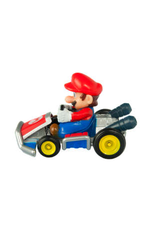 mario: Adelaide, Australia - March 27 2015:A studio shot of a Mario Kart diecast vehicle  from the Video and Animated Nintendo Series. Mario Kart is an extremely popular videogame worldwide with children.