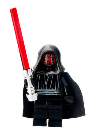 maul: Adelaide, Australia - February 26 2015:A studio shot of a Darth Maul Lego minifigure from the Star Wars Theme. Lego is extremely popular worldwide with children and collectors.